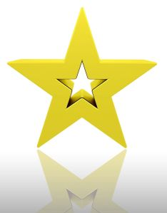 3D render of a gold star